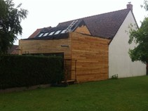 extension bois, jardin enclavé, terrasse, terrasse