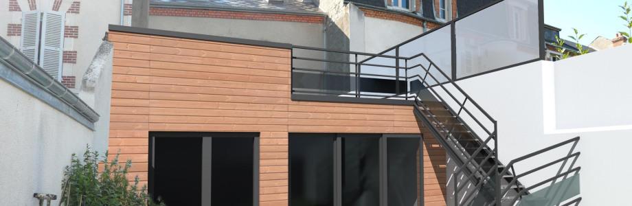 extensions ossature bois, isolation par l'extérieur, réalisation terrasses